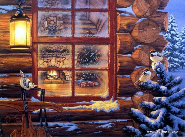 Artist Darrell Bush Unframed Cabin and Bird Print Winter's Retreat | WildlifePrints.com