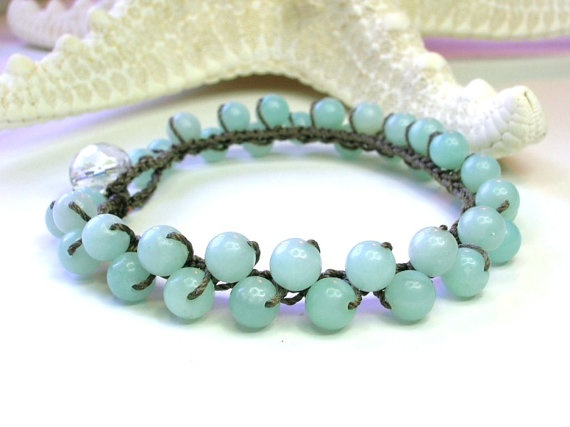 Crochet beaded jewelry Amazonite bracelet - Bubbly - Bohemian jewelry, sky blue, beachy, spring trends $36 Etsy.com
