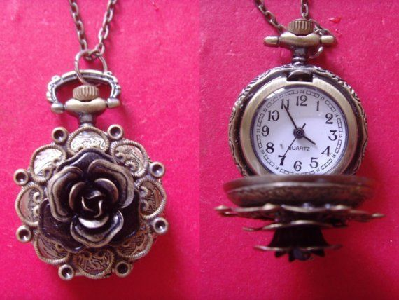 Pretty rose pocket watch necklace from etsy!