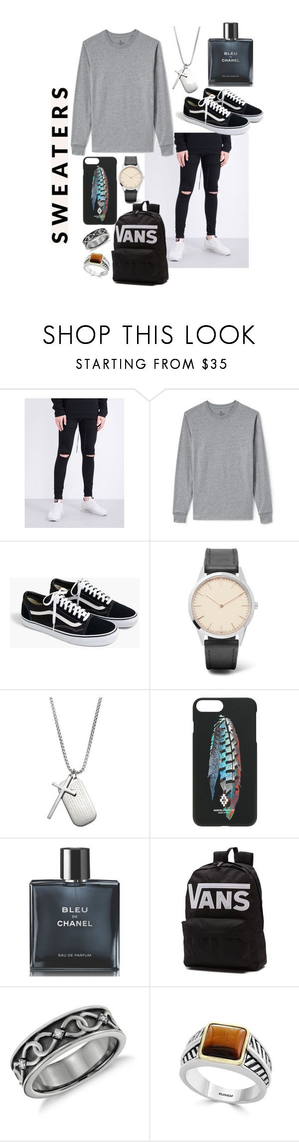 """""""Untitled #146"""" by meganjaned ❤ liked on Polyvore featuring Hera, Lands' End, J.Crew, Uniform Wares, 1913, Marcelo Burlon, Chanel, Vans, Effy Jewelry and men's fashion"""