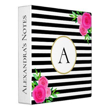 Elegant Black White Striped Pink Floral Monogram Binder - monogram gifts unique custom diy personalize