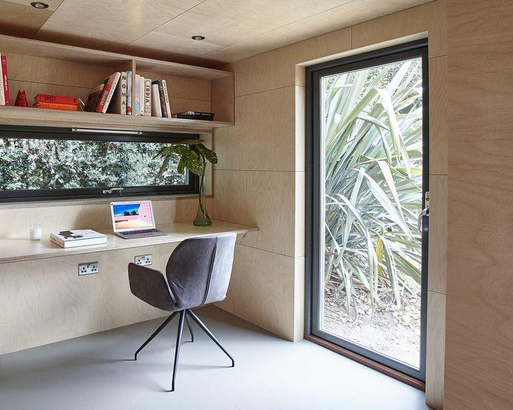 prefabricated garden office. prefabricated garden studio is clad in cedar and lined birch office m