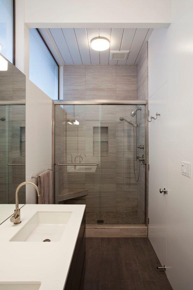 Grey shower tile bathroom midcentury with gray shower tile inset door