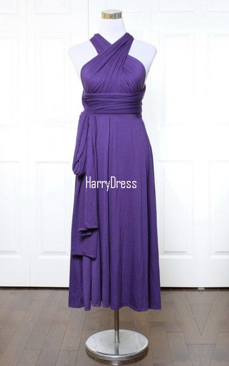 Purple A Line V Neck Jersey Ankle Length Ruffles Bridesmaid Dress