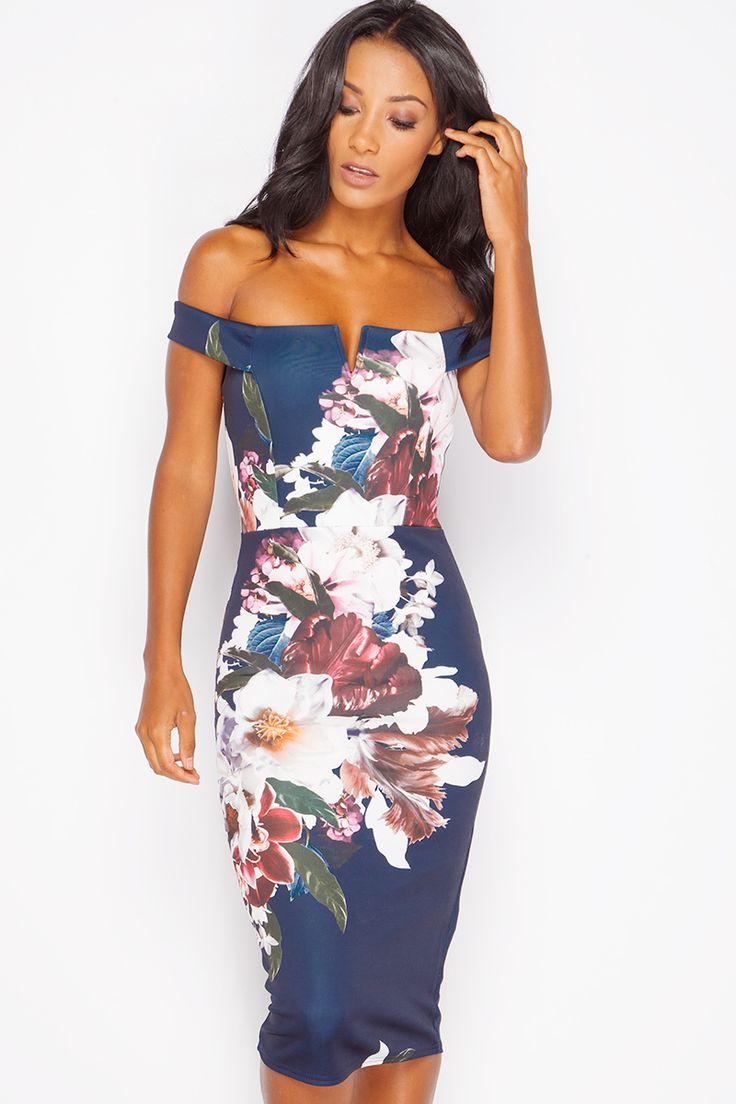 Paloma Navy Floral Bardot Dress