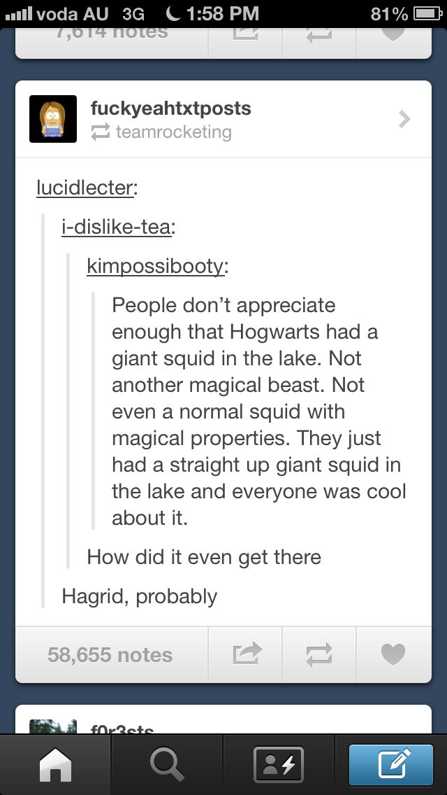 "Hagrid definitely (""they're very misun'erstood creatures, gian' squids"")"