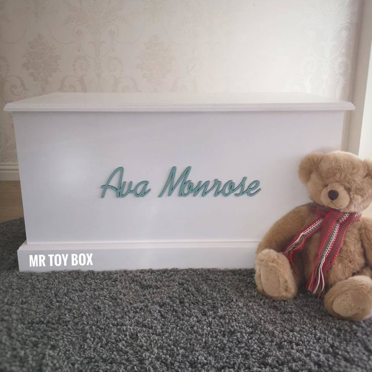 Stunning Traditional Toy Box with Teal name. Love this colour combination!  #toybox #toychest #toystorage #personalisedtoybox #toytrunk #personalisedgifts