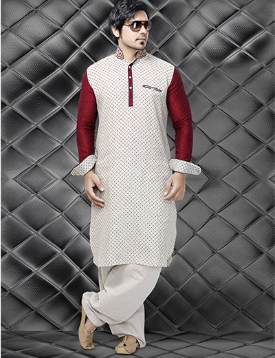 A very unique styled Pathani suit. Product code - G3-MPS0176 Price - INR 5295/-