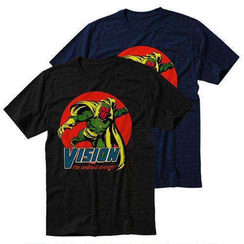 Black+Men's+Tshirt+Vision+Marvel+Comics+The+Avengers+Black+Shirt+For+Men