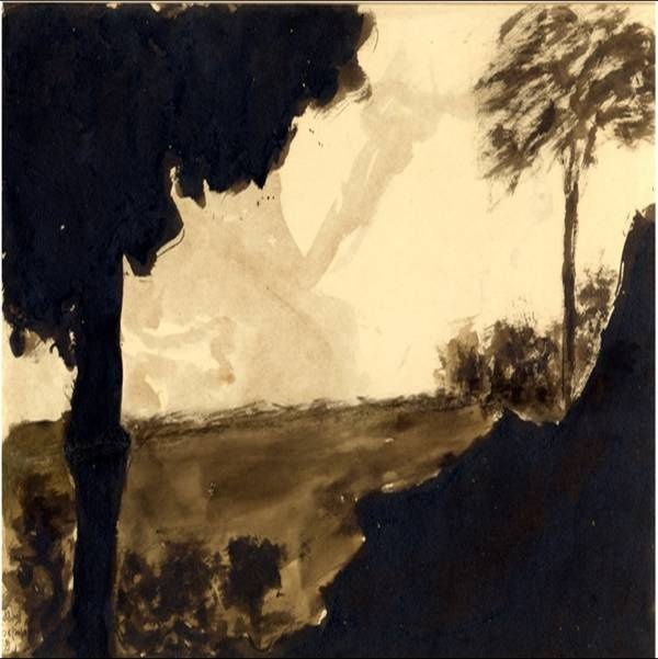 An untitled landscape by Tagore painted in 1936 using ink and wash. Perhaps the beautiful Bengali countryside was his muse for this work.