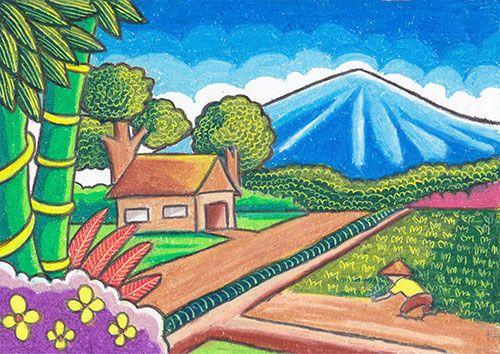 4 Langkah Menggambar Dan Mewarnai Pemandangan Alam Di Pedesaan Cikal Aksara Ilustrasi Lukisan Cara Menggambar Lukisan