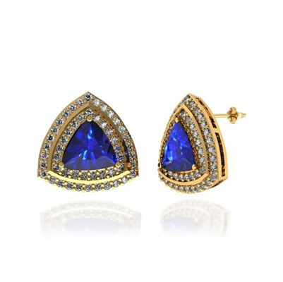 Get this 3ctw Trillion Tanzanite Earring With 1.16ctw Diamonds in 14k Yellow Gold just for 1760.99.