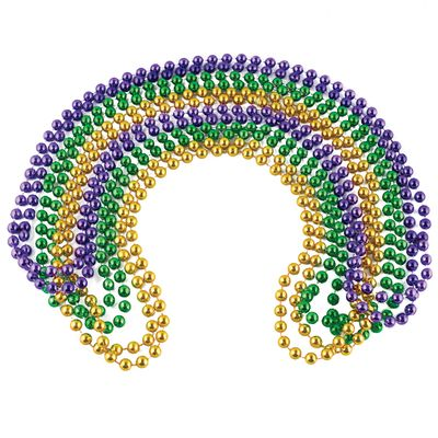 Privateislandparty.com Mardi Gras Beads Bulk DOZEN 7mm Mixed 6525 $3.50 Mardi Gras Beads Bulk DOZEN 7mm Mixed 6525 - Great for Mardi Gras festival at New Orleans! Fun party favors for birthdays or carnival themed parties. Round Metallic Purple, Gold and Green Mardi Gras Beads. Sold as a DZ Pack. Buy in Bulk and Save!