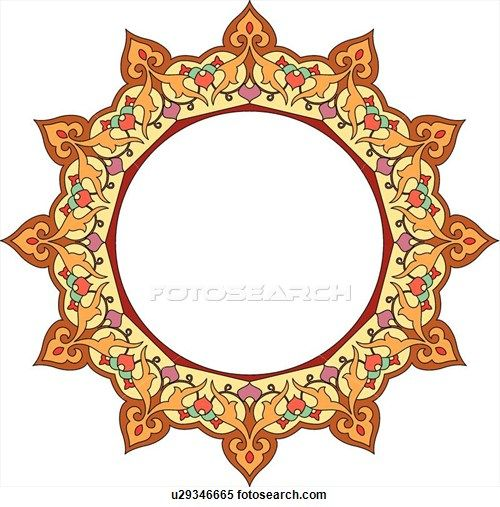 Clipart of Red, orange, green and yellow round Arabesque frame u29346665 - Search Clip Art, Illustration Murals, Drawings and Vector EPS Graphics Images - u29346665.eps