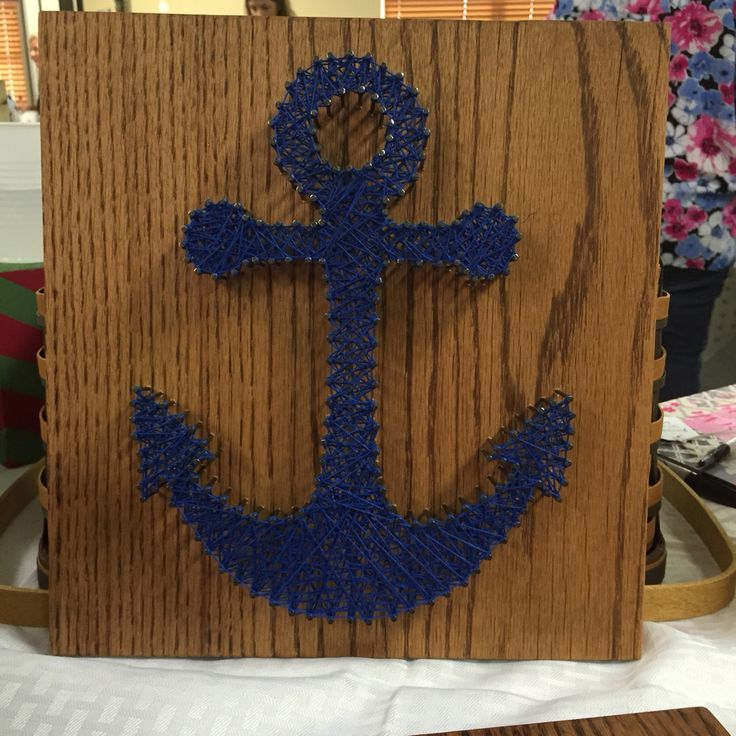12x12 anchor string art, nautical decor, diy, boats, beach decor, sailing