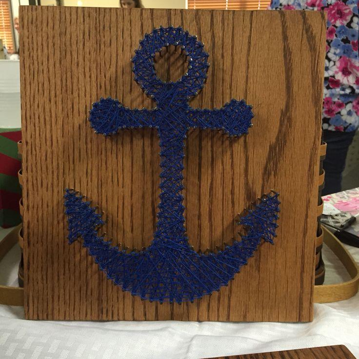 12x12 anchor string art, nautical decor, diy, boats, beach decor, sailing