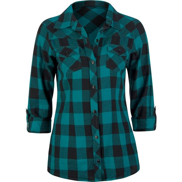 FULL TILT Buffalo Plaid Womens Flannel Shirt 150732512 | Blouses &... ❤ liked on Polyvore