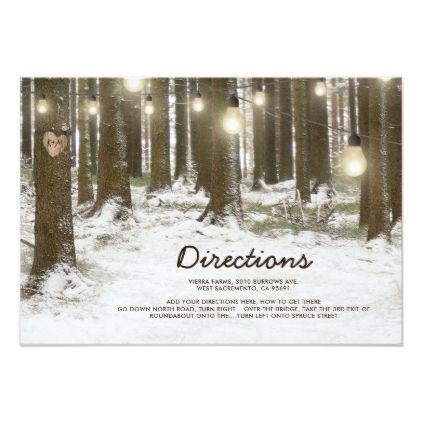 Rustic Winter Woodland Tree Wedding Directions Card - rustic gifts ideas customize personalize