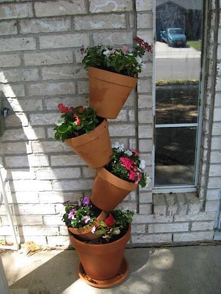how to terra cotta stacked pots gardening pinterest. Black Bedroom Furniture Sets. Home Design Ideas