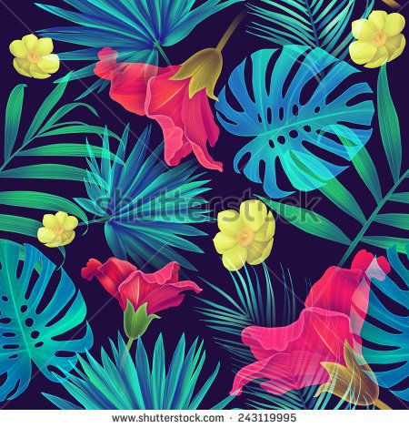 Seamless tropical flower and leaves, plant pattern