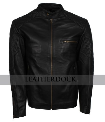 Mens Retro Style Zipped Black Biker Jacket Real Leather Soft Casual Sale online