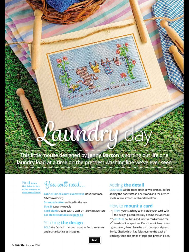 Laundry Day Cross Stitch Collection Issue 263 Summer 2016 Zinio Saved