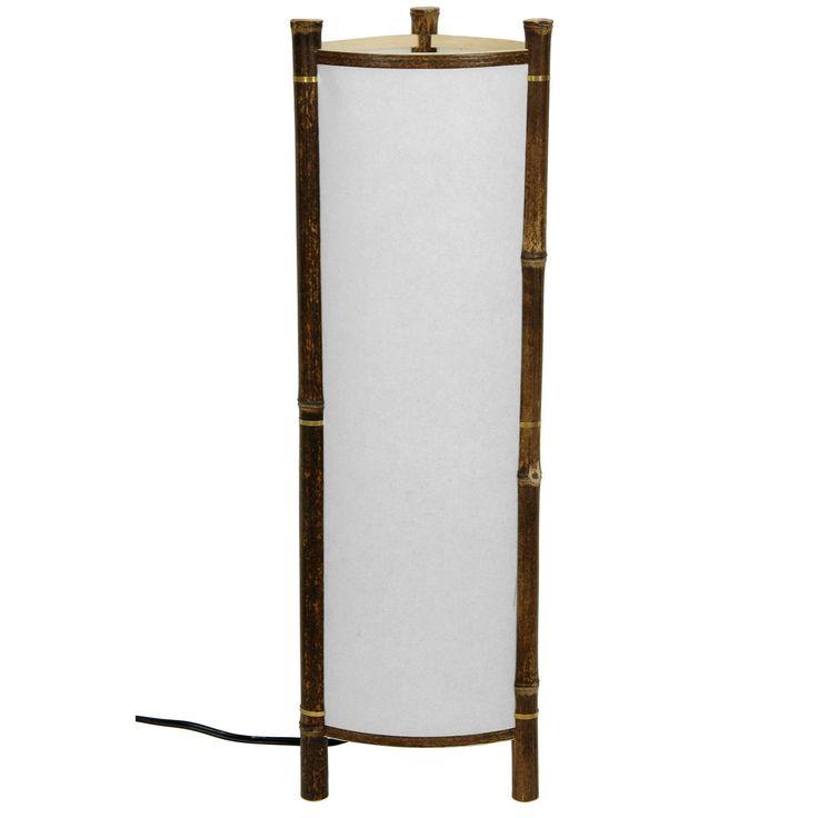 Handmade Kamakura Japanese Bamboo Table Lamp (China), White (Wood)