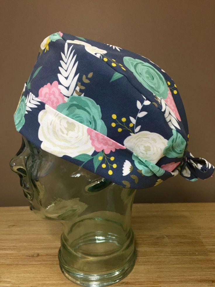 Flower Garden Party Surgical Scrub Cap in Dusk, Beautiful Women's Floral Pixie Scrub Hat, Custom Caps Company by CustomCapsCompany on Etsy