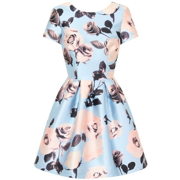 Chi Chi London Floral Print Mini Dress ($75) ❤ liked on Polyvore featuring dresses, blue, women, floral mini dress, blue floral dress, mini dress, short summer dresses and high-low dresses