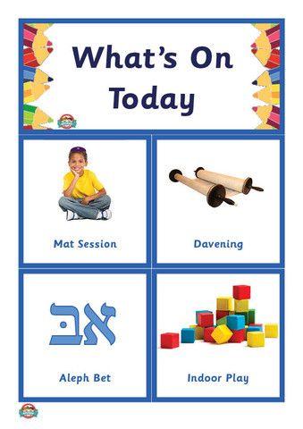 What's On Today? Kinder Schedule/Routine (Jewish Studies)