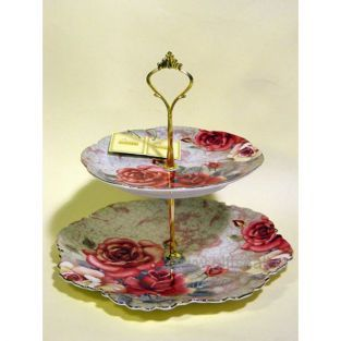 Decorative and useful double serving tray sweet porcelain from house Oriana Ferelli decorated with floral theme Red Roses with small touches of gold finish. Ideal for decorating the living room or your dining room. Suitable for carring sweets in one place to another.