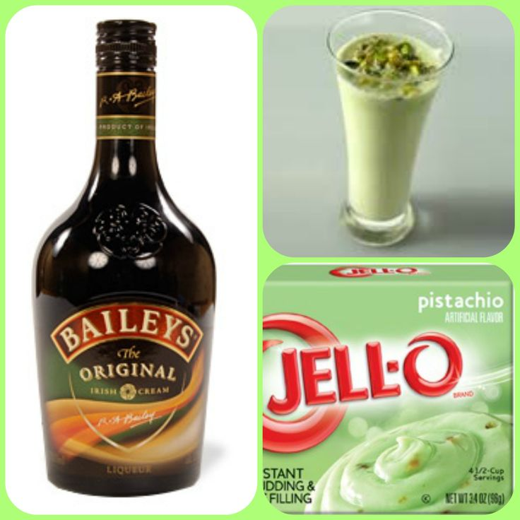 Pistachio Cream Pudding Shots  1 small Pkg.pistachio instant pudding 3/4 Cup Milk 3/4 Cup Irish Cream 8oz tub Cool Whip  Directions 1. Whisk together the milk, liquor, and instant pudding mix in a bowl until combined. 2. Add cool whip a little at a time with whisk. 3.Spoon the pudding mixture into shot glasses, disposable shot cups or 1 or 2 ounce cups with lids. Place in freezer for at least 2 hours