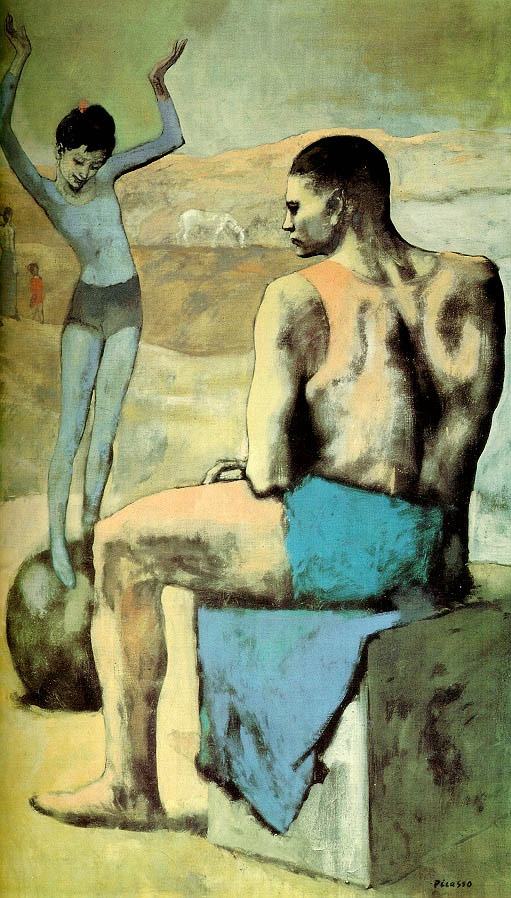 """Pablo Picasso, """"Young acrobat on a ball"""" (1905, oil on canvas). Moscow, The Pushkin Museum of Fine Art"""