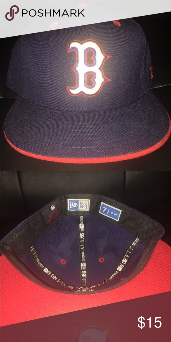 New era fitted baseball cap Size 7 3/8 flat bill fitted new era baseball cap. New with partial sticker tags New Era Accessories Hats
