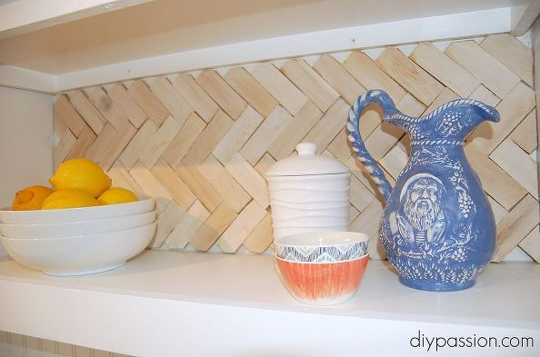diy herringbone wood shim backsplash, kitchen backsplash, kitchen design  This is soooo easy and non-permanent.  Get for people who rent!