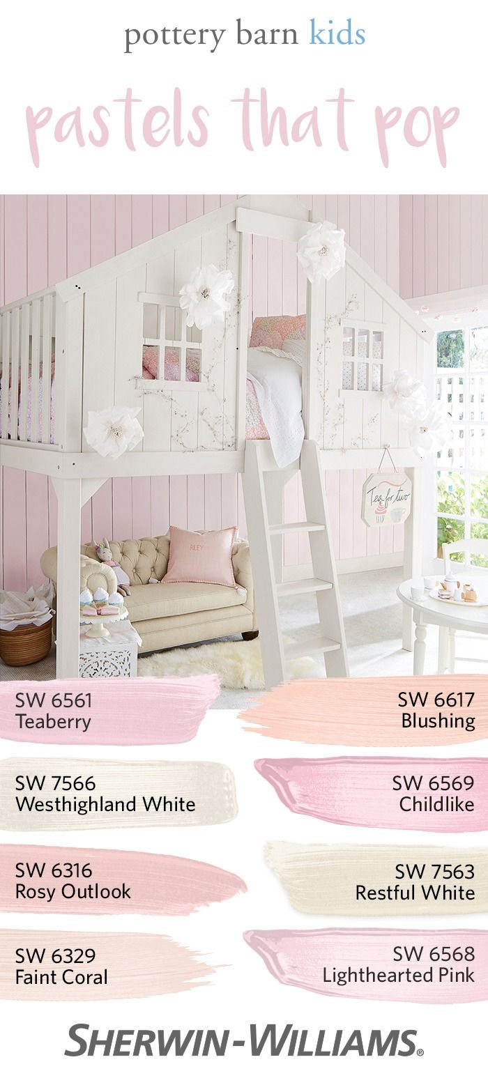 When it comes to kids' rooms, pastels never go out of style. Whether you're painting a nursery, bedroom or playroom, creating a kid-friendly palette with soft, rich hues is easy. Simply choose from any of the 28 colors in the @potterybarnkids Spring/Summer 2017 palette. Love blush tones as much as we do? This palette features Teaberry SW 6561 (on the walls), Blushing SW 6617, Westhighland White SW 7566 and others—all designed to pair perfectly with your favorite @PotteryBarn accessories.
