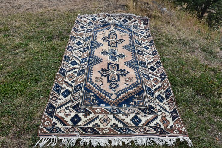 """Thanks for the kind words! ★★★★★ """"Beautiful rug. As described. Quick postage to Australia"""" norfikchic123 http://etsy.me/2ihw5qk #etsy #housewares #rectangle #area #wool #pink #blue #vintagerugs #vintageturkishrugs #vintagekilimrug"""
