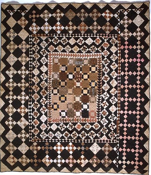 Framed Center Pieced Quilt, 1825 - 1850. Made by Rachel Burr Corwin. Smithsonian Institution.