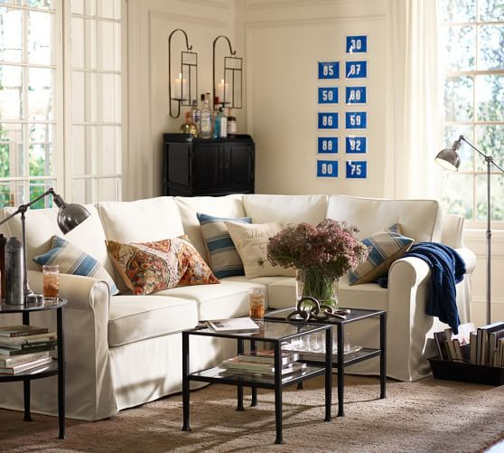 Cameron Slipcovered Roll Arm 3-Piece Sectional with Corner | Pottery Barn
