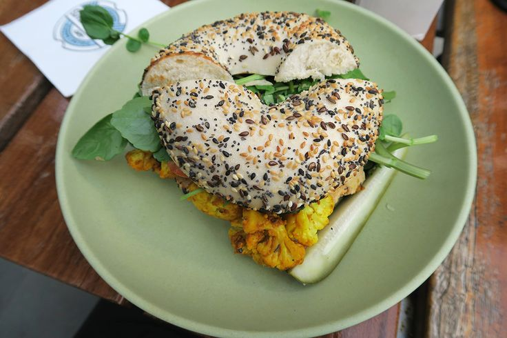 Hippie-Slicker bagel at Schmucks Bagels