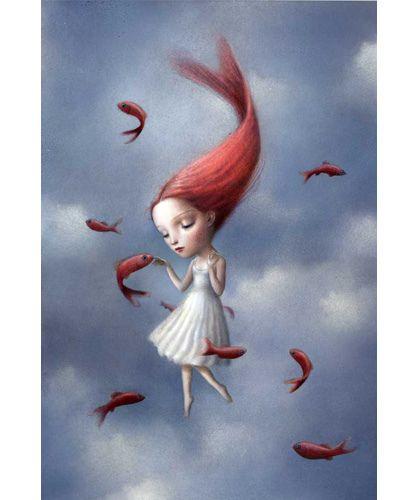 La chica pez, me encanta el pelo.  Tengo la postal comprada en Laie  Nicoletta Ceccoli