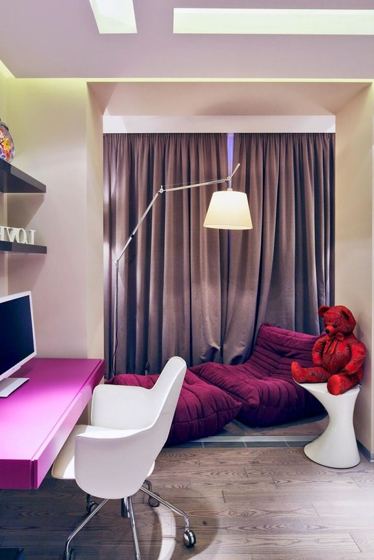 Home design, Cool Teenage Bedroom Ideas With Purple Lounge Chair Corner Beside Curtain Window Also White Chair Feat Purple Study Table: Cool Teenage Bedroom Ideas Showcasing Stylish Modern Appearance