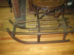 Wood Sleigh Coffee Table This Is An Adorable Idea For A