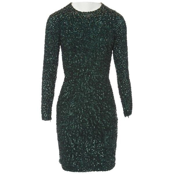 Pre-owned Jenny Packham Silk Mid-Length Dress ($1,153) ❤ liked on Polyvore featuring dresses, green, women clothing dresses, silk cocktail dress, mid length dresses, long cocktail dresses, sleeve cocktail dress and long sleeve cocktail dresses