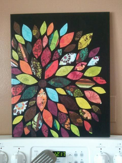 Easy art! Supplies: cardstock, mod podge, glue, canvas, paint. Paint a blank canvas your colour of choice (acrylic). Pick out coloured/patterned scrapbook paper. Cut out paper in shapes of flower petals and lay them out on canvas in shape you want. Glue! Mod podge the entire thing (wait until glue is dry)
