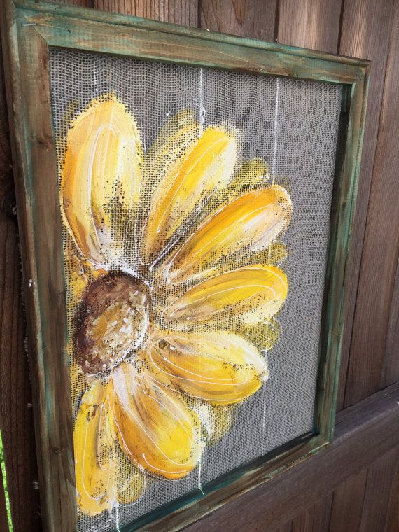 This is a paintings on burlap fabric ,  hand painting flowers 16x 20 inches I will personalize this piece however you wish – names,