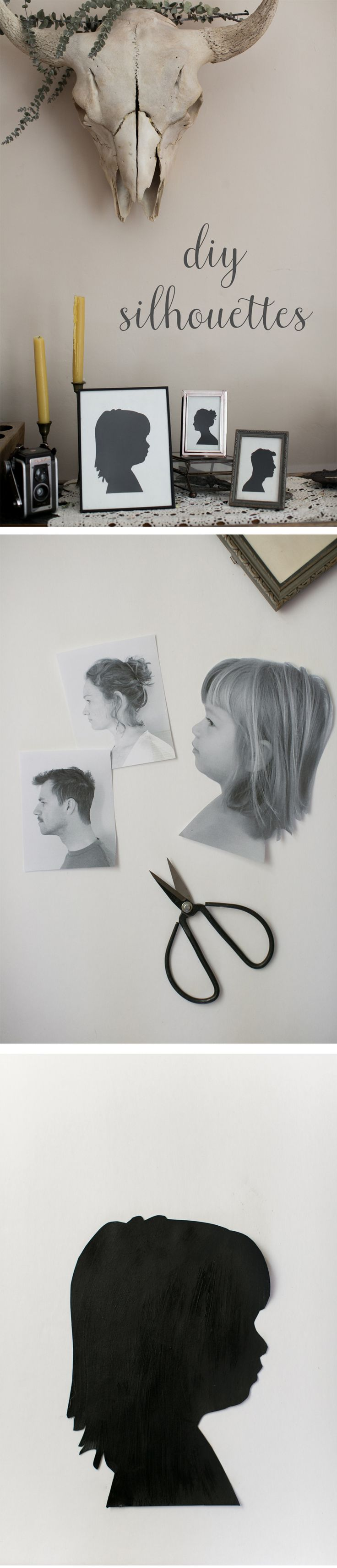 These gorgeous DIY silhouettes will make a perfect family heirloom for years to come. All you really need to make it happen is a camera (even on your phone) and a printer.