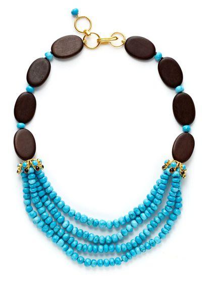 Wood & Turquoise Bead Bib Necklace