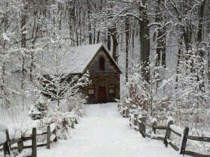 Snow scenes stone cabin and scene on pinterest