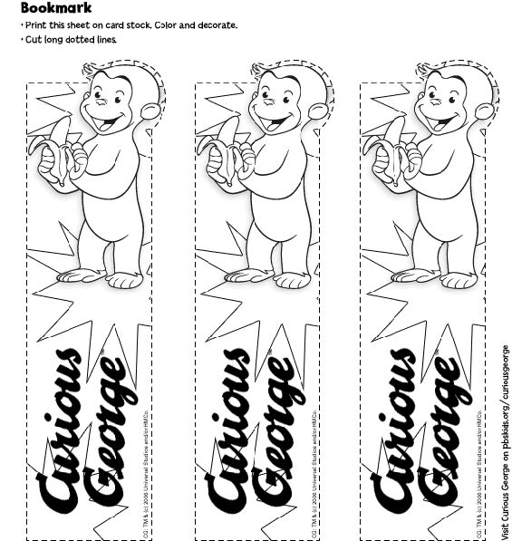 curious george coloring pages | Printable black and white Curious George bookmark. Color the bookmark ...